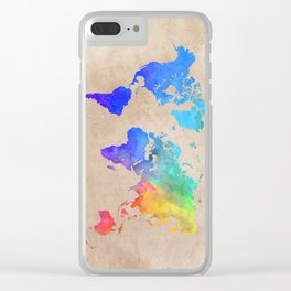 world map 42 color Clear iPhone Case