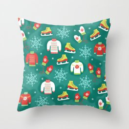 Christmas Sweaters, Ice Skates and Mittens Pattern Throw Pillow