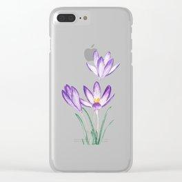 purple botanical crocus flowers Clear iPhone Case