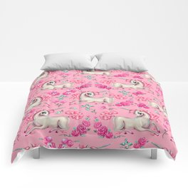 Unicorns and Roses on Pink Comforters