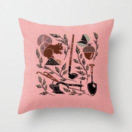 Farm Harvest Silhouette on Pink Throw Pillow