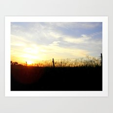 Sunset Behind the Fence Art Print