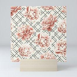 Simply Mod Diamond Roses in Cream and Black Mini Art Print
