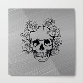 Skull with roses, silver Metal Print