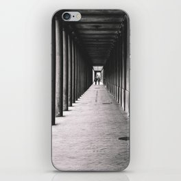 Arcade with columns in Copenhagen, architecture black and white photography iPhone Skin