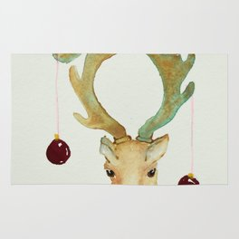 Little Reindeer with Red Ornaments tied to Antlers Rug