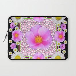 Floral Abundance Black Shasta Daisy Pink Roses Abstract Art For the home or the office and gifts fro Laptop Sleeve