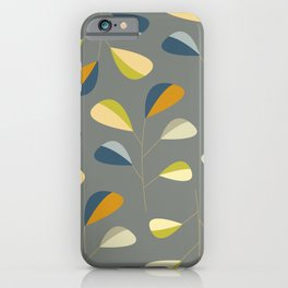 Mid Century Modern Graphic Leaves Pattern 3. dark grey iPhone Case
