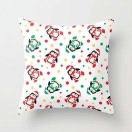 Christmas Penguins and Polka Dots Throw Pillow