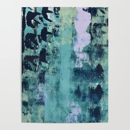 012: a bright contemporary abstract piece in teal and lavender by Alyssa Hamilton Art  Poster
