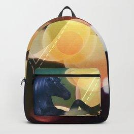 Black Unicorn with yellow bokeh Backpack