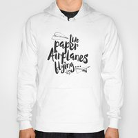 airplanes Hoodies featuring Paper Airplanes by Renata Bernardes