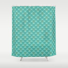 Art Deco Fan Pattern Turquoise on Aqua Shower Curtain
