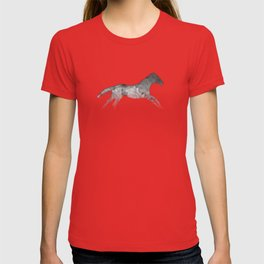 Running Watercolor Horses Ink Black T-shirt
