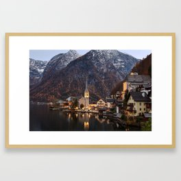 Hallstatt at sunset, Austria Framed Art Print
