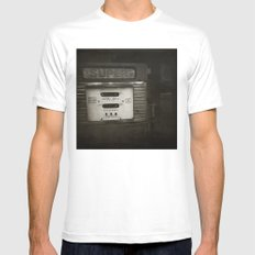 { super } White Mens Fitted Tee MEDIUM