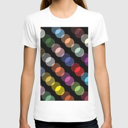Double-Vision Multicolored Polka Dots over Black Background T-shirt