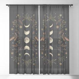 Moonlight Garden - Winter Brown Sheer Curtain
