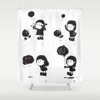 balloon Shower Curtains featuring balloon by inkdesigner