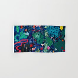 Brightly Rainbow Tropical Jungle Mural with Birds and Tiny Big Cats Hand & Bath Towel
