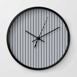 Navy White And Grey Vertical Stripes Wall Clock