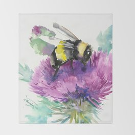 Bumblebee and Thistle Flower, honey bee floral Throw Blanket