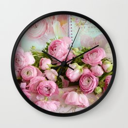 Shabby Chic Cottage Pink Floral Ranunculus Peonies Roses Print Home Decor Wall Clock