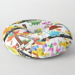 Watercolor Dinosaur Construction Crew Floor Pillow