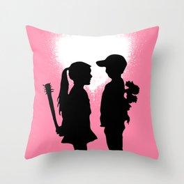 Banksy Boy Meets Girl Throw Pillow