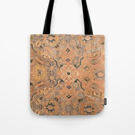 Persian Motif IV // 17th Century Ornate Rose Gold Silver Royal Blue Yellow Flowery Accent Rug Patter Tote Bag