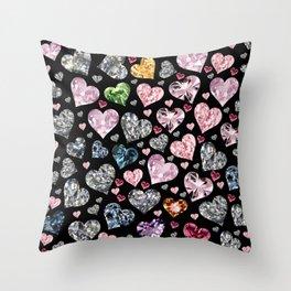Heart Diamonds are Forever Love Black Throw Pillow