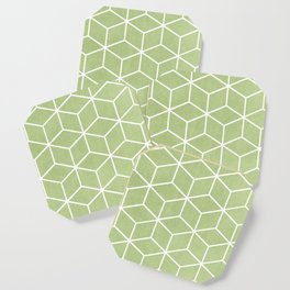 Lime Green and White - Geometric Textured Cube Design Coaster