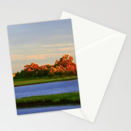 Orange Fall Intercoastal Tree Tops Painting Stationery Cards