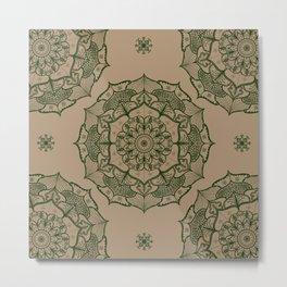 Earth tone neutral manadala art design pattern Metal Print