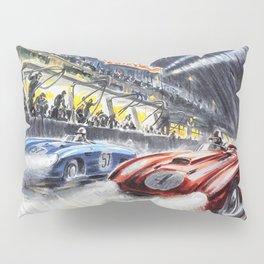 1954 Le Mans Auto Racing Advertisement Vintage Poster Pillow Sham