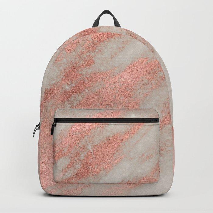 Marble Rose Gold White Marble Foil Shimmer Backpack