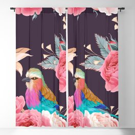 Rainbow Birds Pink Roses Floral Kingdom Sumptuous Fantasy Flower Pattern Blackout Curtain