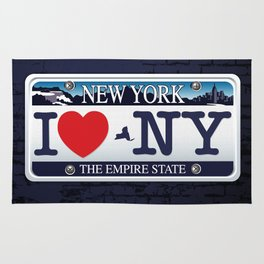 I love NY New York Car Licence Plate Rug