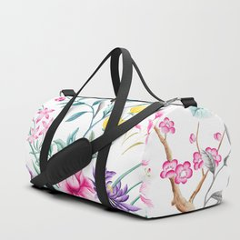 Chinoiserie Decorative Floral Motif Duffle Bag