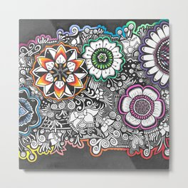 Flowers Zendoodle Artwork Metal Print