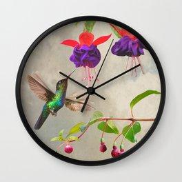 Fuchsia and Hummingbird Wall Clock