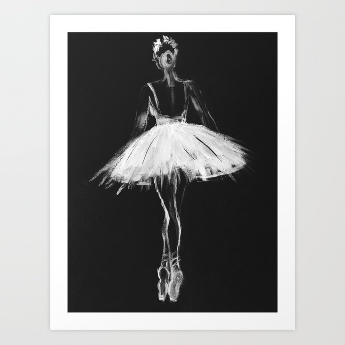 Ballerina black white, pastel on black paper Art Print