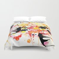 her art Duvet Covers featuring #her by Yazmeen Collazo
