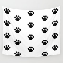 Puppy Dog Paw Prints Wall Tapestry