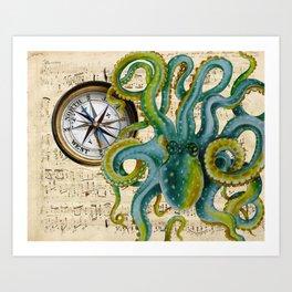 Octopus Compass Green Music Collage Art Print