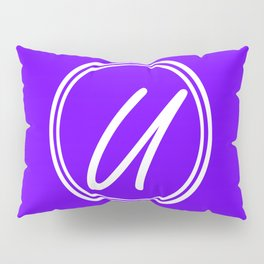 Monogram - Letter U on Indigo Violet Background Pillow Sham