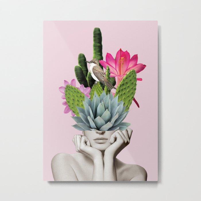 Cactus Lady Metal Print - Square Metal Wall Art