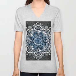 Black White Blue Colorburst Mandala Unisex V-Neck