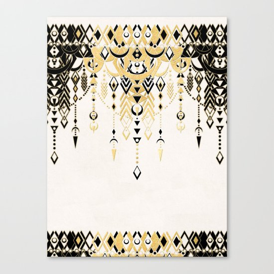 Modern Deco in Black and Cream Canvas Print