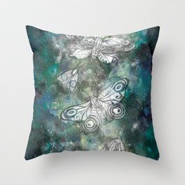 Night Moths Throw Pillow